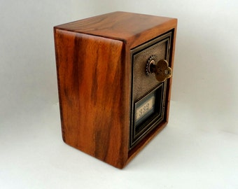 Vintage Walnut Safe with Bronze CORBIN Post Office Door Bank Keyed Lock lockbox 8th 5th Anniversary Groomsman Wedding Guy Manly Combination