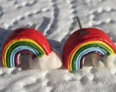petite ceramic rainbow and cloud from Peru hand made pierced post earrings by Ziporgiabella