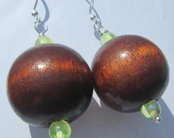 Pierced Earrings Wood Bead pierced earrings pierced dangle earrings hand made earrings