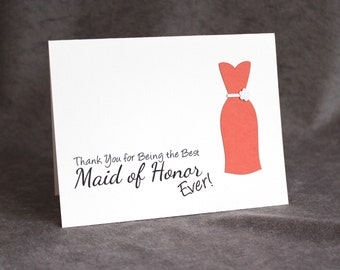 Thank You Maid of Honor Card, Best Maid of Honor Ever, Maid of Honor Thank You Card, Matron of Honor Card, Personalized Handmade Card