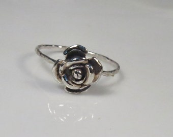 ON SALE - Rose engagement ring sterling silver, Silver rose ring, stackable ring, Skinny ring