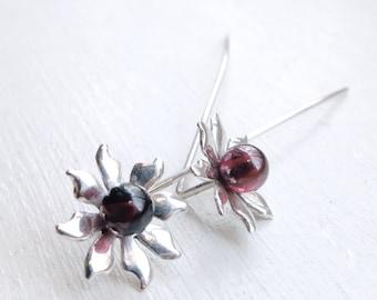 Garnet flower earrings, Sterling Silver, red gemstone, long stem, Flower jewelry