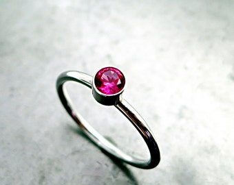 Ruby red ring, Sterling Silver, Stacking ring, Minimal, Birthstone jewelry