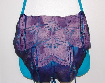 "ReADY to SHiP!! Leather Handbag TURQUOISE Purse Fringe Beaded Hobo Bag "" LACE PURPLE"" Crocheted flap Over Purse Handmade by Debbie Leather"