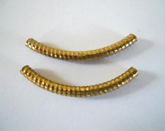 Pair Industrial Textured Curved Brass Tubes