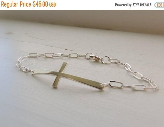 On Sale 20% off Sterling Silver Sideways Cross Charm Bracelet