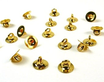 6mm button shanks in gold - Make doll-scale shank buttons