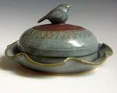 ON SALE 25% Off with Coupon code Bird cheese dish butter dish covered plate ocean blue glaze