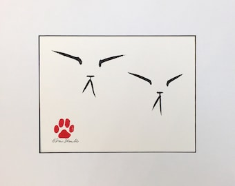 Double Zen Cat - Original Brush and Ink Drawing by CatmanDrew Drew Strouble