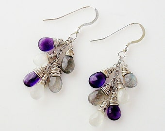 Labradorite, African amethyst, and moonstone silver dangle earrings