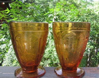 Two Vintage Footed Dessert Dishes - Amber Glass Sundae Dishes