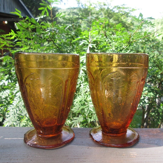 Two Vintage Footed Dessert Dishes - Amber Glass Ice Cream Sundae Dishes