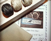 Olde Crow Kit Valdani Threads Weavers Cloth Paper Pattern Unfinished Wood Box