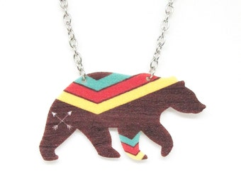 Tribal Chevron Bear Necklace