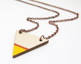 Geometric Painted Wood Triangle Necklace - Yellow and Copper Tip