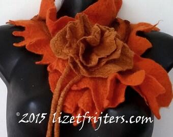 Orange Nuno Felted Scarflette - Neckpiece  Rose of Love Eco Fashion - Fibre Art with Felted Flower Closure