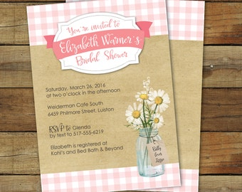 Picnic Bridal Shower Invitation - Pink Gingham Bridal shower - Picnic Wedding Shower