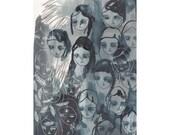 original illustration, original drawing, original painting, ghost girls and feathers