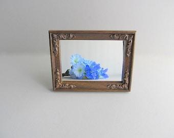 Vintage Mirror Brown Frame Wood Grain Frame Stand Alone Mirror Free Standing Mirror