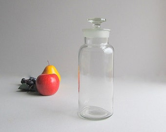 Vintage Apothecary Jar, Storage Jar, Medical Jar, Supply Jar, Tall Jar With Lid, Clear Glass Jar