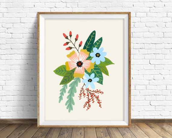 Folk Art Flowers No. 4 - flowers, botanical, art print, large art, large wall art, hand painted flowers, wall art, farmhouse wall art, print