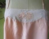 L  Flapper 1920s Silk Nightie Lingerie Slip  Coral Pink Ecru Lace Lovebirds