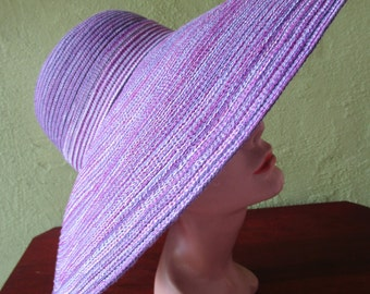 Huge Kokin Varigated Braid Purple Red Sun Shade Hat Wide Brim