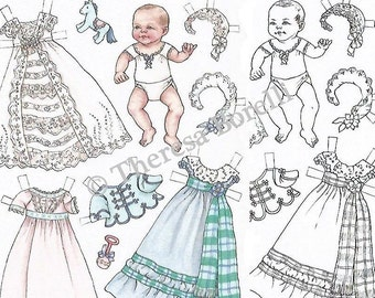 Printable baby paper dolls & coloring pages, digital download pdf, by Theresa Borelli