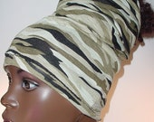 Natural Hair Accessories-HeadTube-HeadBand-Camouflage Green-Locs