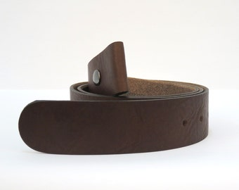 chocolate brown premium leather single snap belt