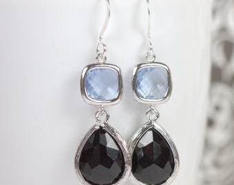 Long Black and Light Sapphire Silver Framed Stone Dangle Earrings, Long Silver Earrings, Black Silver Framed Stone Earrings  [#939]