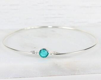 December Birthstone Swarovski Turquoise Blue Sterling Silver Bangle Bracelet, Sterling Silver Bracelet, Turquoise Bangle Bracelet [#763]