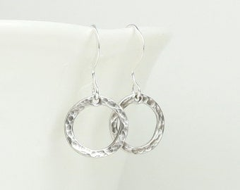 Sterling Silver Hammered Circle Earrings, Hammered Sterling Silver Earrings, Small Drop Earrings, Small Silver Earrings, #880