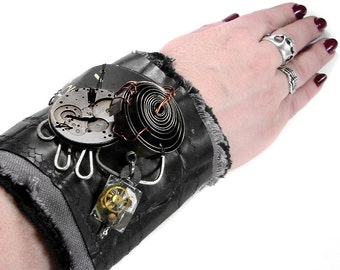 Steampunk Cuff BLACK INDUSTRIAL Leather Wrist Cuff Watch Parts Clock COiLS Mens Post Apocalyptic Nihilist - Steampunk Clothing by edmdesigns