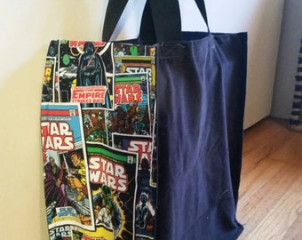 Sturdy grocery bag with Star Wars comics side fabric