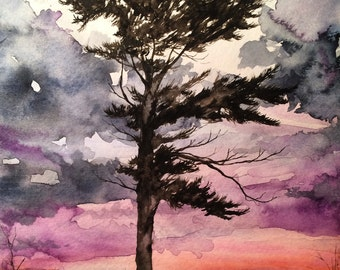 Sunset and the Dancing Tree - Watercolor PRINT