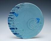 Aqua Large handmade plate w. Floral & Navy stripes, Victorian modern, Serving / dinnerware