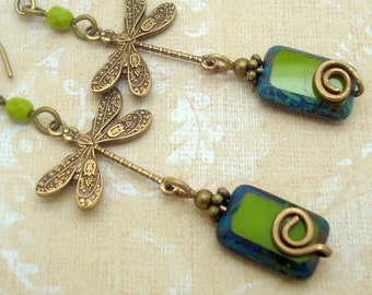Boho Chic Earrings with Dragonfly and Handmade Spiral in Olive Green