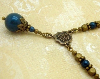 Necklace in Victorian Jewelry Style with Petrol Blue Swarovski Pearls