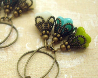 Cluster Earrings with Flower Dangles in Lime Green, Turquoise, and Cream Glass
