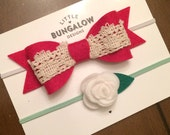 Valentines Day Red Bow Headband // White Rose // Felt Flower // Felt Bow Headband / Lace Bow // Baby Headband // Wool Felt // Skinny Elastic