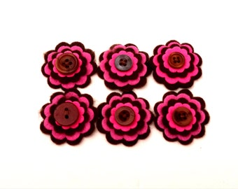 Felt Flowers, Set of 6 Embellishments, Scrapbooking Flowers, Card Embellishment, Hot Pink and Brown