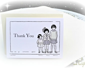Antique vintage storybook children inspired blank greetings card