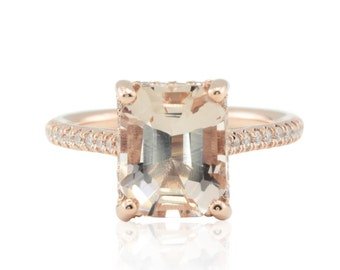 Morganite Engagement Ring - Rose Gold Solitaire with Emerald cut Peach Morganite and Diamond Side Halo - LS4568