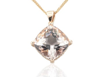 Morganite Necklace - 14mm Square Cushion cut Pink Morganite and Diamond Pendant with Filigree Hearts in 14k Rose Gold - LS4711
