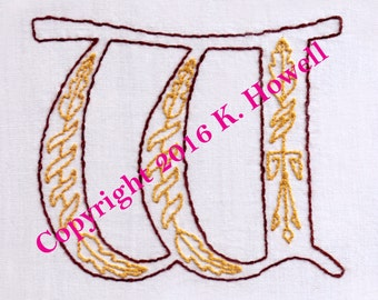 W Hand Embroidery Pattern, Medieval, Letter, Monogram, Font, Illuminated Manuscript, PDF