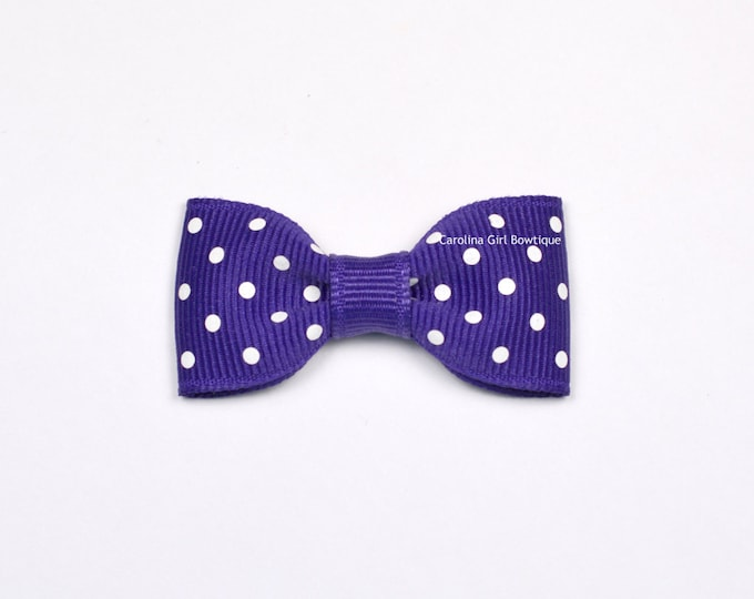 Purple Dots Baby Hair Bow ~ 2 in. Bow with No Slip Grip ~ Small Hair Bows Newborns Toddler Girls