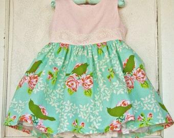 Toddler Mint & Pink Dress Lace Floral Birds  Baby Dress
