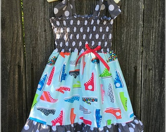 Tennis Shoe Girls Smocked Dress, Girls Summer Dress, Birthday Girl Dress, Boutique Girl Clothing, Girls Birthday Outfit