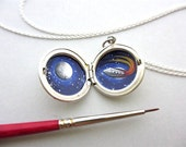 Tiny Oil Painting in Sterling Silver Locket, Rocket to the Moon, Secret Adventure